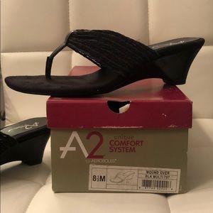 New Black Multi Sandals Thongs Wedges Aerosoles